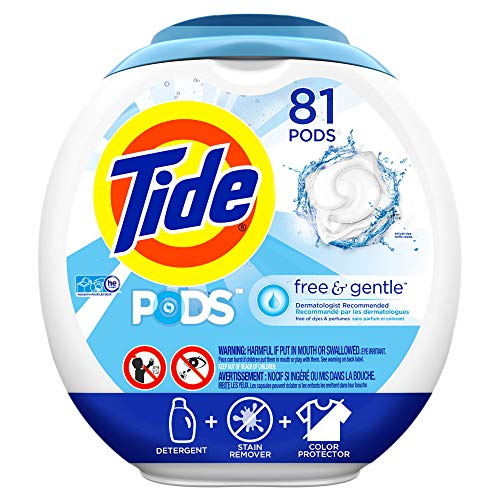- Tide Free and Gentle Laundry Detergent Pods, 81 Count, Unscented and Hypoallergenic for Sensitive Skin