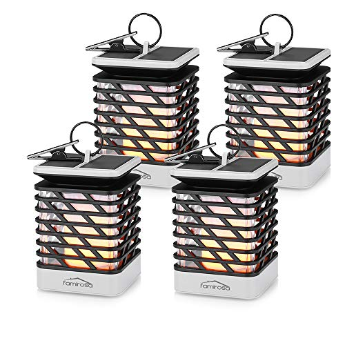 FAMIROSA Solar Lanterns, Waterproof Solar Hanging Lantern Outdoor Lights Dancing Flame Solar Powered Umbrella Lanterns for Pathway Garden (4 Pack)
