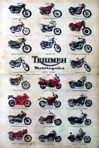 "J-4402 Triumph Classic Motorcycle Collection Wall Decoration Poster Size 23.5""x35"""