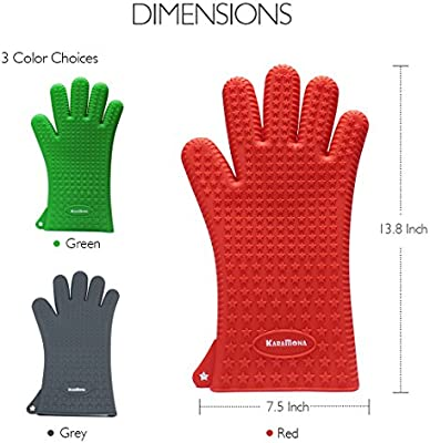 Silicone Gloves with Fingers KaraMona Silicone Oven Mitts Green Oven Mitts Heat Resistant FDA Approved /& BPA Free Kara Mona