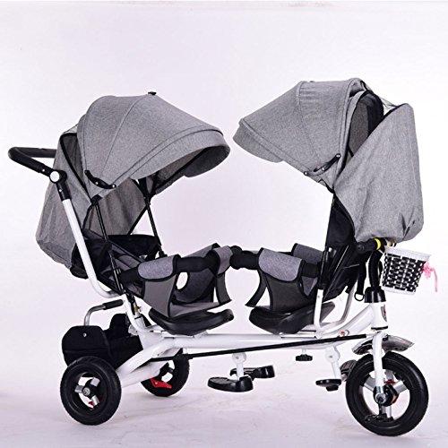 QXMEI Los Niños Gemelos Triciclo Ensanchado Recién Nacidos Los Carritos De Bicicletas con Toldos,Grey