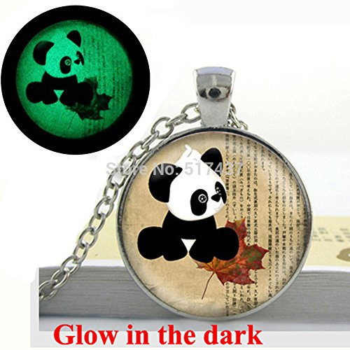 Pretty Lee Glow In The Dark Necklace Pendants Panda Bear Necklace Bear And Leaf Art Photo Glass Dome Handcrafted Glowing (Thomas Kinkade Jewelry)