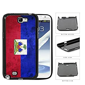 Haiti Flag with Coat of Arms Red and Blue Grunge Hard Snap on Phone Case Cover Samsung Galaxy Note 2 N7100