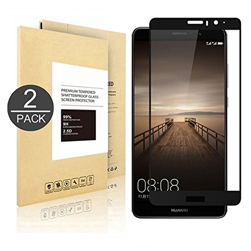 Huawei Mate 9 Screen Protector [Tempered Glass] [Full Coverage] [Colored Edge],Linboll [3D Full Curved Edge] [No Bubble] Ultra Clear 9H Hardness Scratch Proof Protective Filmfor Huawei Mate 9[2 Pack]