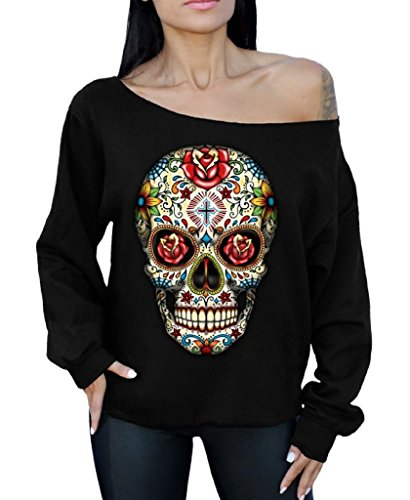 Awkwardstyles Rose Eyes Skull Off The Shoulder Oversized Sweatshirt Sugar Skull S Black ()