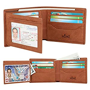 Wallets for Men – RFID Blocking Trifold Genuine Leather Wallet With 2 ID Window