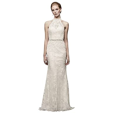 f4c75a1ef8ad Lace High-Neck Halter Sheath Wedding Dress Style MS251192 at Amazon Women's  Clothing store: