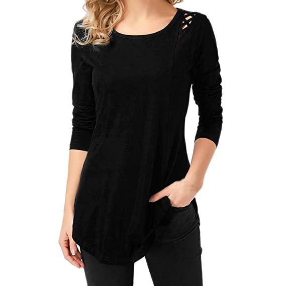 db4d96890 QUICKLYLY Camiseta Mujer otoño Mujer Camiseta Tops Blusa Moda Sólido Largo  Manga Hueco Fuera Cruzado