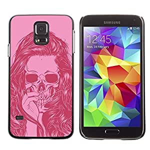 Colorful Printed Hard Protective Back Case Cover Shell Skin for SAMSUNG Galaxy S5 V / i9600 / SM-G900F / SM-G900M / SM-G900A / SM-G900T / SM-G900W8 ( Girl Vignette Pink Art Hair Skull )