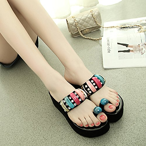 elegante pendiente agua AJUNR zapatillas Transpirable 6cm Sandalias Moda 35 38 Taladro de con Negro 5qwwxB6H
