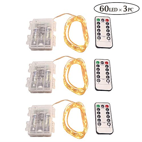 60 LEDs Copper Wire Lights String Lights x 3PCS at Home, Craft Bottle for D