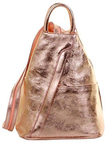 Primo Sacchi Italian Leather Metallic Rose Gold Top Handle Shoulder Bag Rucksack Backpack (Shoes Italian Women Leather)