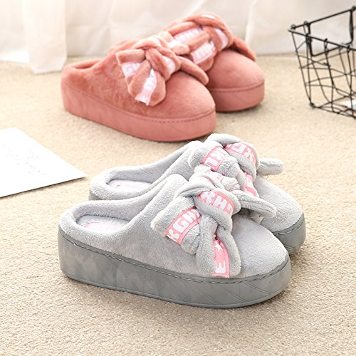 Slippers Dark Shoes Winter Auspicious Wedges tie Pink Bow beginning Platform Outdoor Casual Women PtBqv