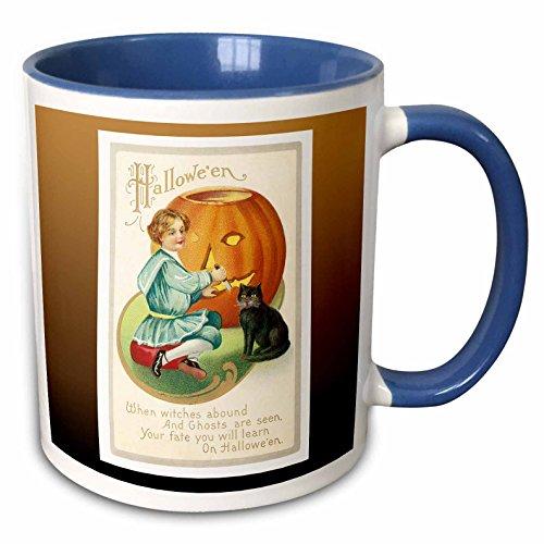 3dRose BLN Vintage Halloween - Vintage Halloween Little Boy Carving a Pumpkin with a Black Cat - 15oz Two-Tone Blue Mug (mug_126072_11) ()