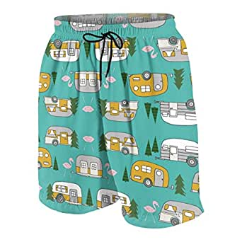 Amazon.com: Retro Camper Flamingo Boys' Swim Trunks Kids
