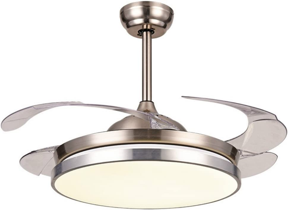 Lighting Fans - Ventilador de techo invisible moderno con mando a distancia de níquel cepillado, 4 aspas transparentes retráctiles, para dormitorio, salón, comedor: Amazon.es: Bricolaje y herramientas