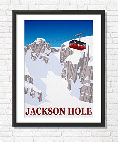 Steve Ash illustration Jackson Hole Ski Resort, Wyoming Art Print, Wall Decor Ski Poster (70cm x 100cm)