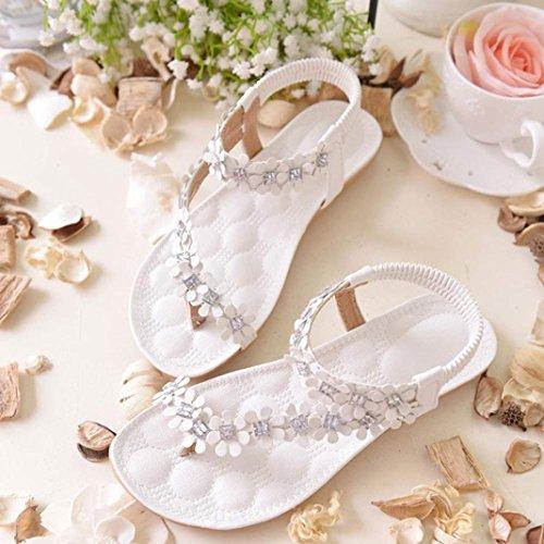 HARRYSTORE Simple Mujeres Verano Flor Bohemia Granos Flip-flop Zapatos Sandalias Planas Zapatos cómodos Blanco