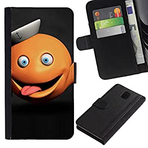 iBinBang / Flip Funda de Cuero Case Cover - Divertido monstruo anaranjado abstracto - Samsung Galaxy Note 3 III N9000 N9002 N9005