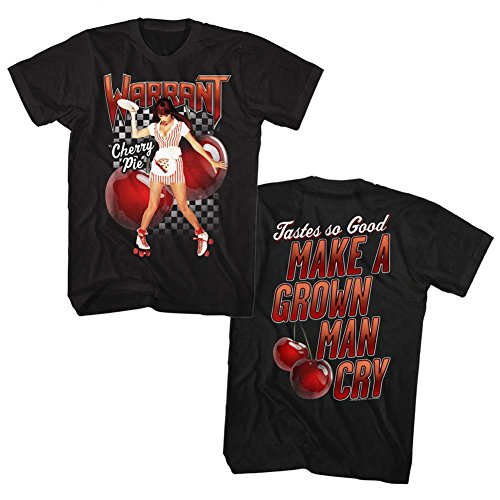 (Warrant Band T-Shirt Cherry Pie Song Front and Back Black Tee, XL)