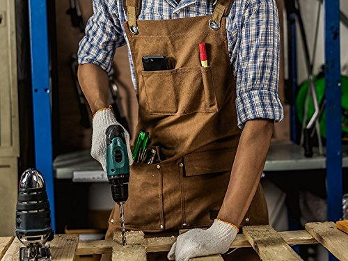 Luxury Waxed Canvas Shop Apron | Heavy Duty Work Apron for Men & Women with Pocket & Cross-Back Straps | Adjustable Tool Apron Up To XXL | Long, Thick, Water Resistant Workshop Apron in Gift Box by GIDABRAND (Image #5)