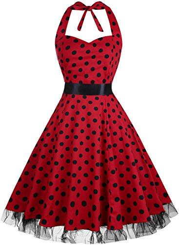 OTEN Women's Vintage Polka Dot Halter Dress 1950s