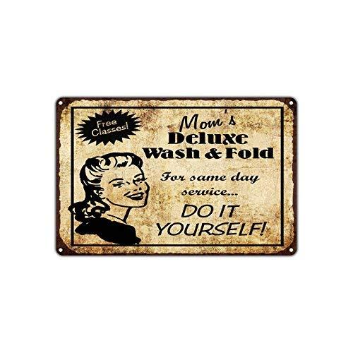 HSSS Mom'S Deluxe Wash Fold lavandería hazlo tú Mismo. Cartel de Aluminio de 20 x 30 cm, diseño Retro Vintage de Metal
