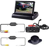 "Podofo Wireless Car Backup Camera with 2 Parking Alarm Sensors Radar Detector & 4.3"" LCD Rearview Monitor"