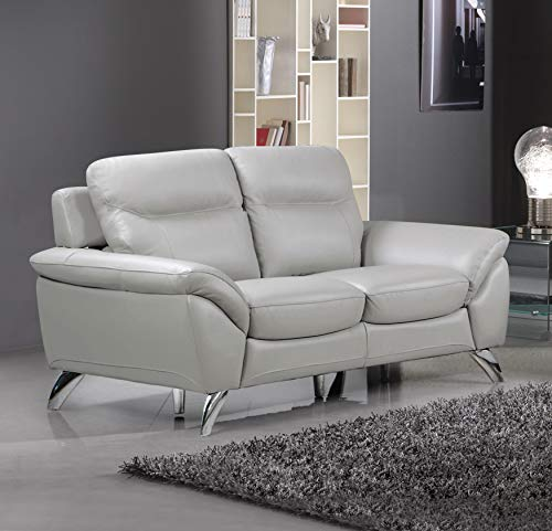 Cortesi Home Contemporary Monaco Leather Loveseat, Light Grey