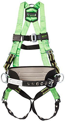 (Miller by Honeywell P950-77/UGN Duraflex Python Full-Body Ultra Harness with tongue Buckle Leg Straps and tool Belt Loops, Universal, Green)