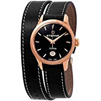 Eterna Artena Black Dial Black Leather Ladies Watch
