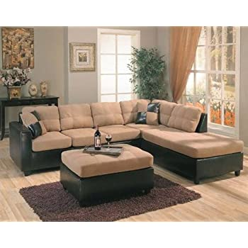 Amazoncom Harlow Right L Shaped Two Tone Sectional Sofa by Coaster