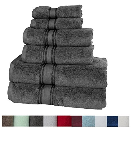 Casa Lino Quick Dry Super Zero Twist 6 Piece Bath Towel Set 7 Star Hotel Luxury Collection, 2 Bath Towel 28x54'', 2 Hand Towel- 16x28'', Face Towel- 13x13'' (Grey) by Lezeth Collection