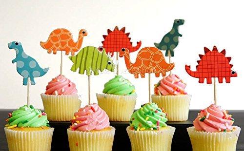 24 Dinosaur Cupcake Toppers Dinosaur food picks Dinosaur themed party