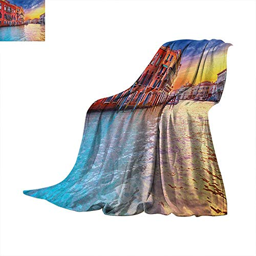 Italian Weave Pattern Extra Long Blanket European Magical Venice Canal with Historical Buildings Famous Town Scenery Lightweight Extra Big 50