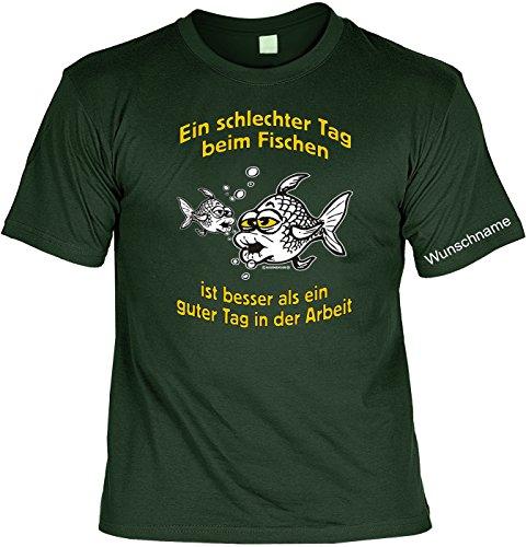 T-Shirt mit Wunschname - Ein schlechter Tag beim Fischen - Lustiges Sprüche Shirt als Geschenk für Angler mit Humor - NEU mit persönlichem Namen