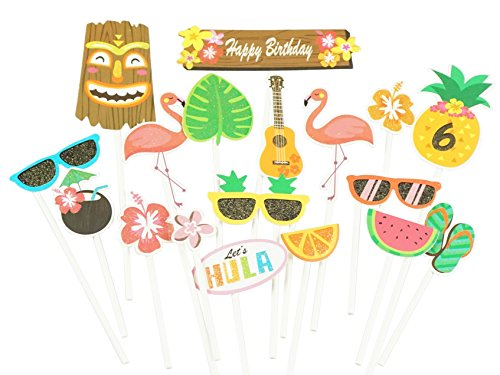 Hawaiian Cupcake Toppers Flamingo Pineapple Cake Decorations Tropical Party By GOCROWN