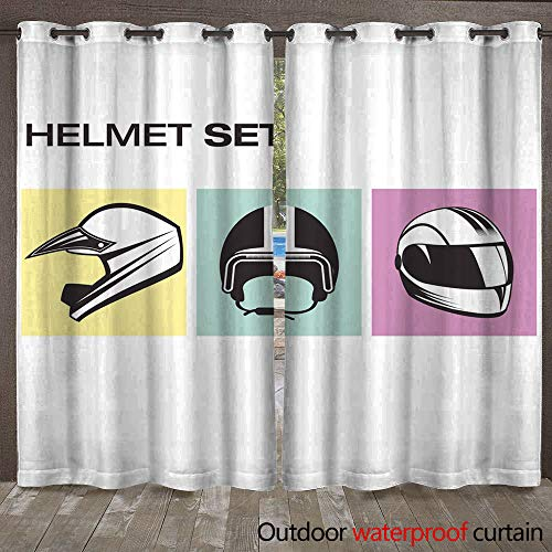 WinfreyDecor Home Patio Outdoor Curtain Set of Motorcycle He