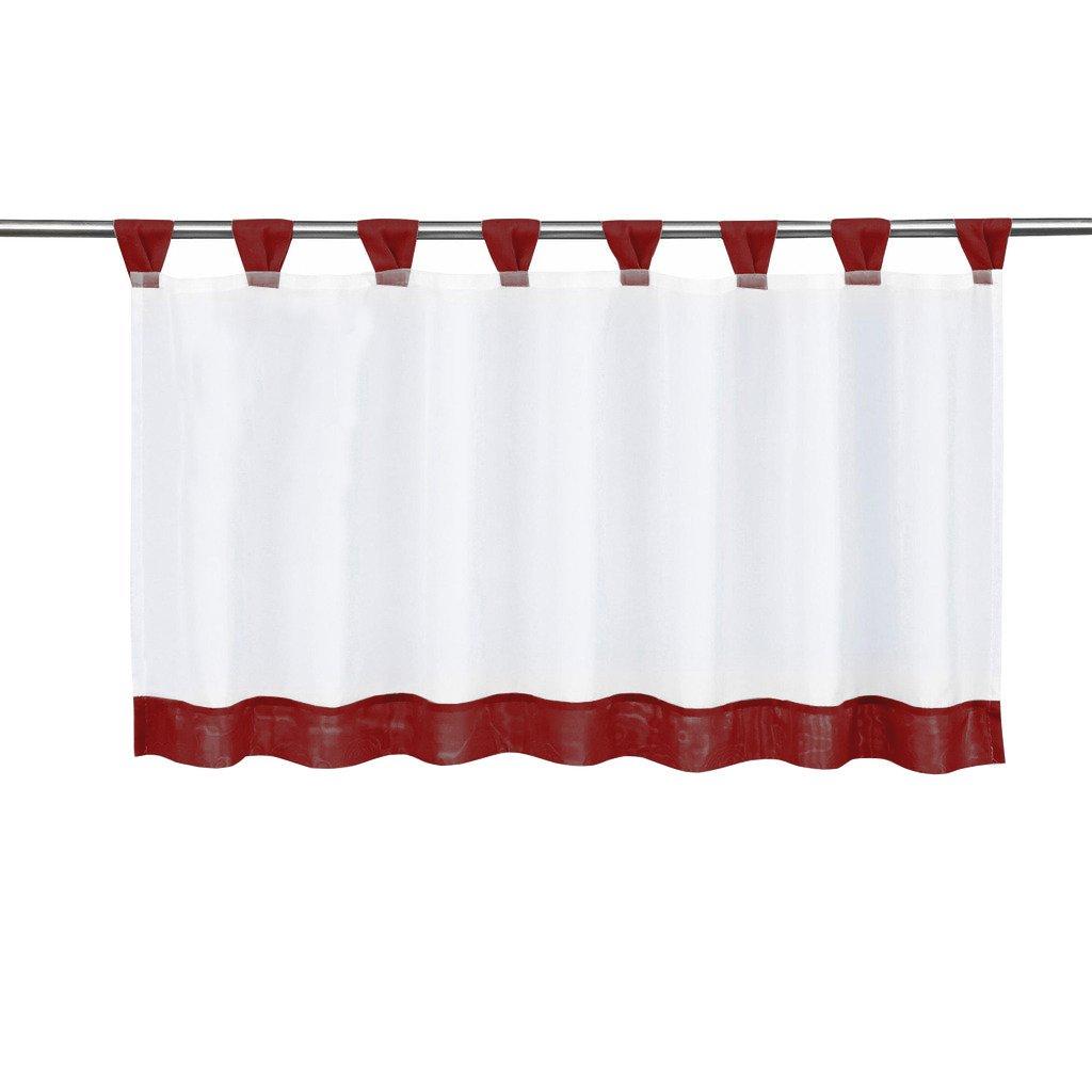 BAILEY JO 1Pc Rideau Voilage Brise-bise Transparent HxL/45x90cm Pan Coloré Orange Rideaux Courts à Pattes Décoration de Fenêtre Chambre/Salle de Bain/Café