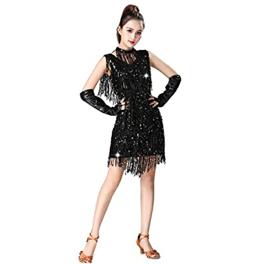 5a64e26a5 Latin Dance Dresses Sequin Tassels Prom Costume Great Gatsby Themed Party  Skirt (M, Black
