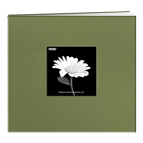 Pioneer Book Cloth Cover Post Bound Album, 8 by 8-Inch, Herbal Green