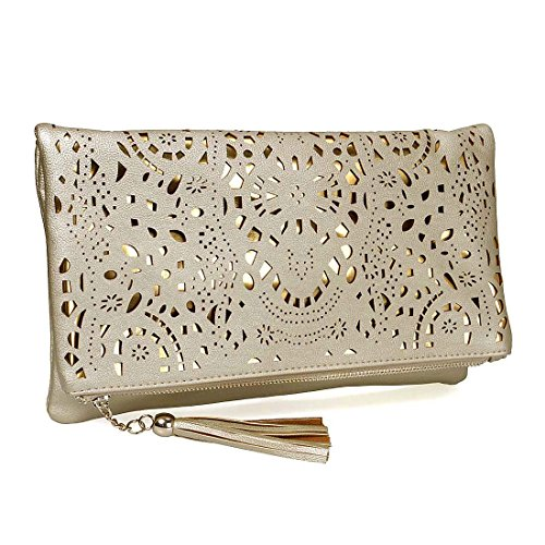 BMC Womens Medium Sized Glimmering Gold Perforated Cut Out Pattern Gold Accent Background Foldover Pouch Fashion Clutch Handbag - Clutch Purse