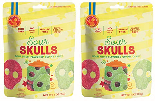 - Candy People Sour Skulls Sour Fruit Flavored Swedish Gummy Candy 4 Ounce (Pack of 2) – Non-GMO, Gluten-Free and Gelatin-Free