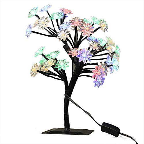 Cherry Blossom Tree Branches Light Table Lamp Night Light Decoration for Indoor Home Desk Top Baby Room Bedside (Multi-colored, Lotus Shape) ()