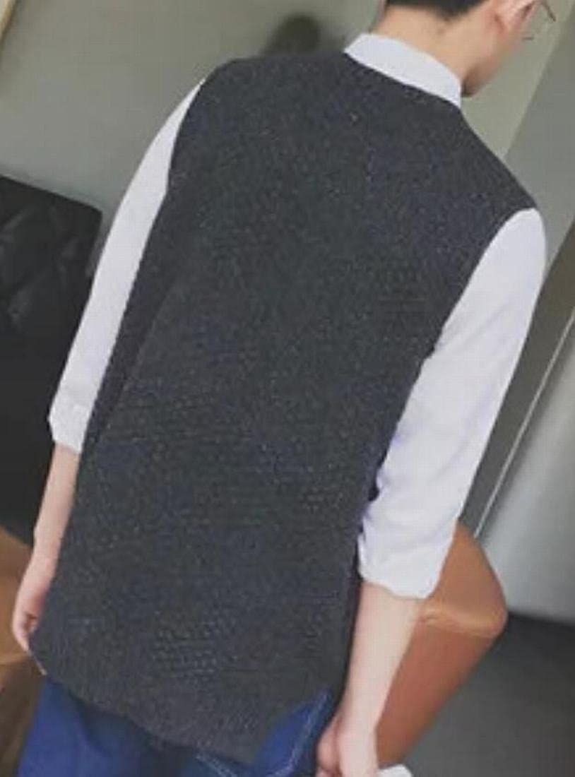 pujingge Men Slim Fit Pullover Crewneck Sleeveless Knitwear Sweater Vest