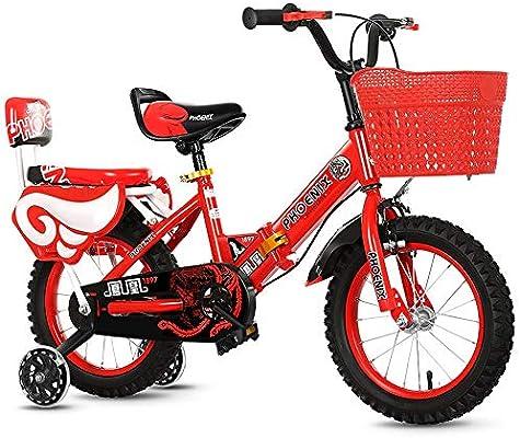 TSDS Bicicleta Plegable para niños Bicicleta Rosa/roja/Azul Bicicleta de montaña de Moda al Aire Libre con Cesta de plástico (Color : Red, Size : 16 Inch): Amazon.es: Deportes y aire libre