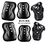 Divine Children/Kids Knee Pads, Elbow Pads, Wrist Guards, Protective Pads Set of 6pcs for Skateboard, Cycling, Riding & Professional Outdoor Sports with Breathable Black Fabric and Adjustable Straps
