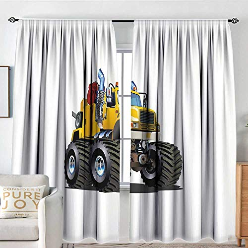 - Print Pattern Curtains Truck,Illustration of a Giant Wheeled Monster Truck Mechanic Beast Emergency,Burgundy Yellow Black,for Room Darkening Panels for Living Room, Bedroom 54