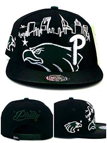 (Philadelphia New Leader Philly Skyline Liberty Eagle in Eagles Colors Black Green Era Snapback Hat Cap)