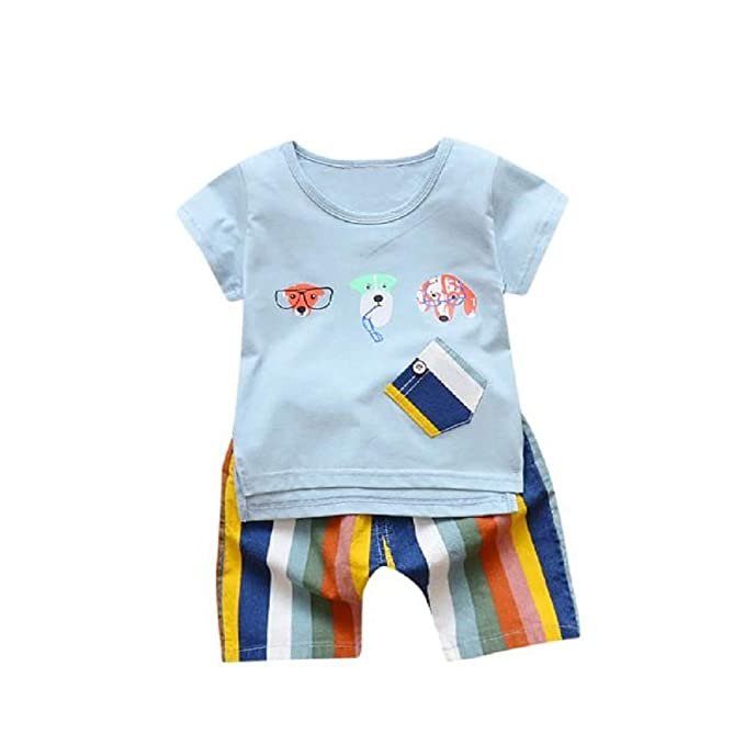 406c0b7e577b7 Iuhan 2PC Toddler Kids Baby Boy Lovely Cartoon GOG Printed T Shirt Tops+  Shorts Outfits  Amazon.in  Clothing   Accessories